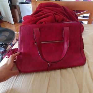 Large red shoulder bag